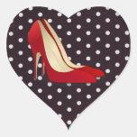 tacones altos rojos calcomania de corazon