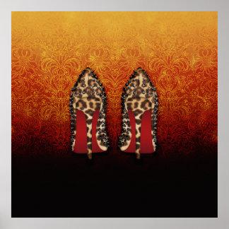 Tacones altos ROJOS de los zapatos de las PARTES Póster