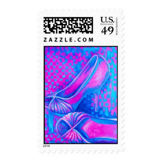 Tacones altos rosados timbre postal