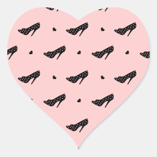 Tacones altos y corazones pegatina en forma de corazón