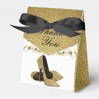 Tacones de aguja del brillo del oro - caja del cajas para detalles de boda