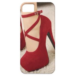 Tacones de aguja rojos Iphone 5 del terciopelo y iPhone 5 Funda