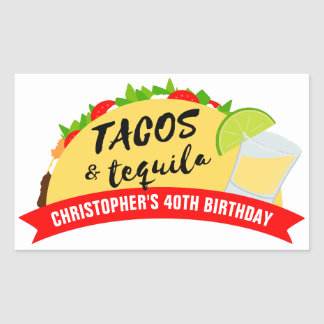 Tacos and Tequila Birthday Party Rectangular Sticker