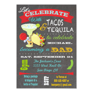 Tacos and Tequila Diaper Baby Shower for Dad to be Card