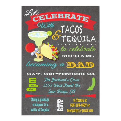 Baby Showers For Dads To Be ~ Tacos and tequila diaper baby shower for dad to be card