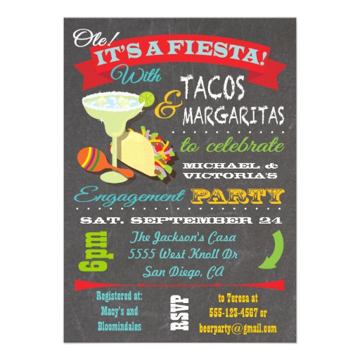 Tacos and tequila engagement party invitation 5 x 7 for Engagement party invitations with photo