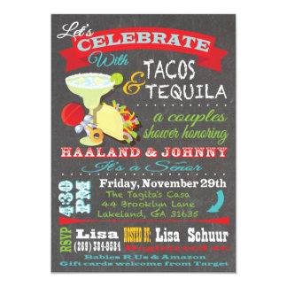 Tacos and Tequilla couples baby shower for Sara Custom Invitation