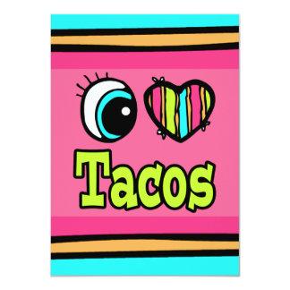 """Tacos brillante del amor del corazón I del ojo Invitación 4.5"""" X 6.25"""""""