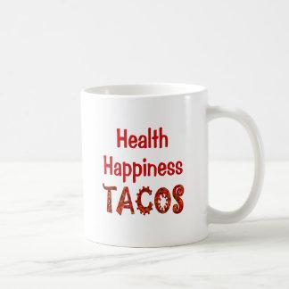 Tacos de la felicidad de la salud taza básica blanca