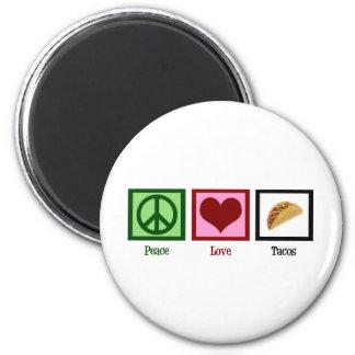Tacos del amor de la paz imán redondo 5 cm