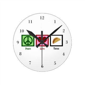 Tacos del amor de la paz reloj