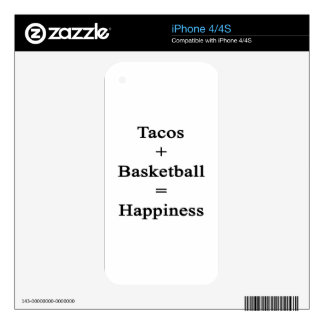 Tacos Plus Basketball Equals Happiness Skin For The iPhone 4