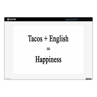 "Tacos Plus English Equals Happiness Skin For 15"" Laptop"