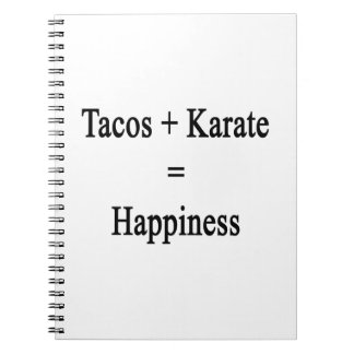 Tacos Plus Karate Equals Happiness Note Books