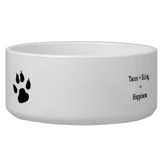 Tacos Plus Skiing Equals Happiness Dog Food Bowl