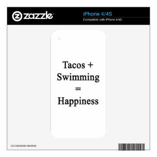 Tacos Plus Swimming Equals Happiness Decals For The iPhone 4