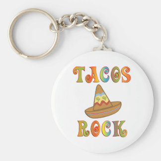 Tacos Rock Basic Round Button Keychain