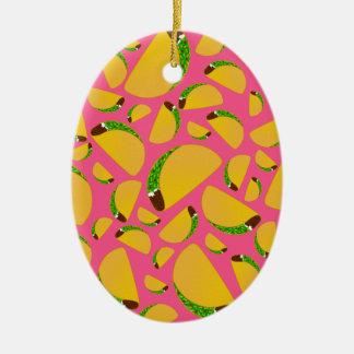 Tacos rosado adorno ovalado de cerámica