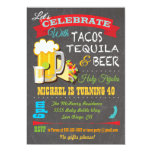 "Tacos, Tequila and Beer Fiesta party invitation 5"" X 7"" Invitation Card"
