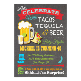 Tacos Tequila and Beer Fiesta party invitation