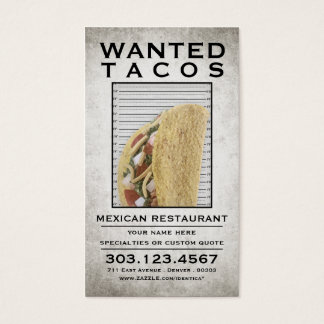 tacos wanted poster business card