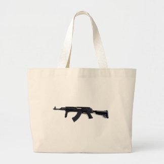 Tactical AK47 Assault Rifle Left Profile Large Tote Bag