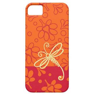 Tacto del arte anaranjado de la libélula iPhone 5 cobertura