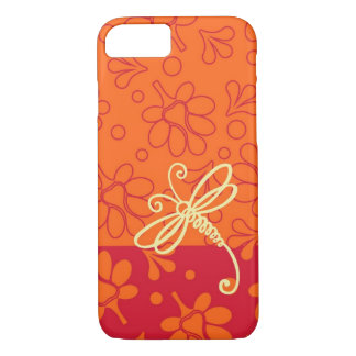 Tacto del arte anaranjado de la libélula funda iPhone 7