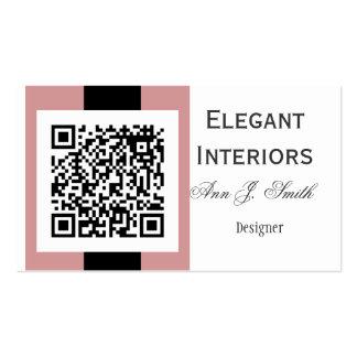 Tacto del damasco rosado - código de QR Tarjetas De Visita