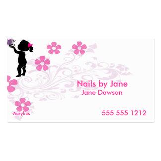 Tacto femenino - rosa y negro plantillas de tarjetas de visita