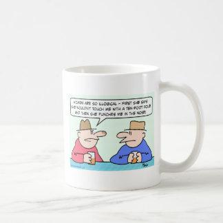 tacto ilógico de la nariz del sacador de las mujer tazas de café