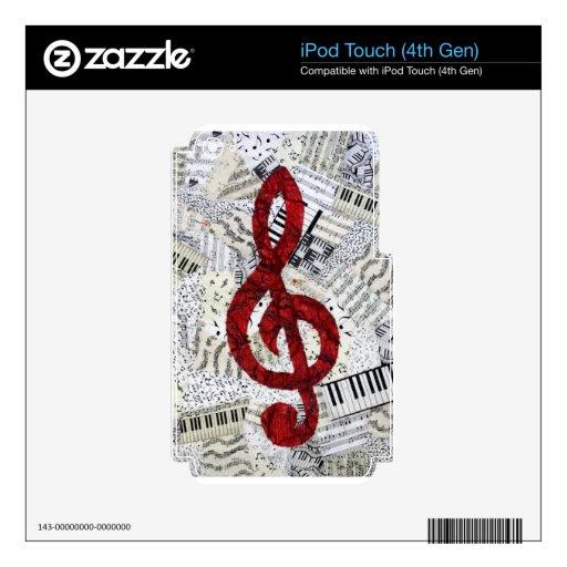 Tacto rojo de iPod del Clef agudo (4ta GEN) iPod Touch 4G Calcomanías