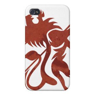 Tacto rojo de iPod del león de Ras por Skidone iPhone 4 Protectores