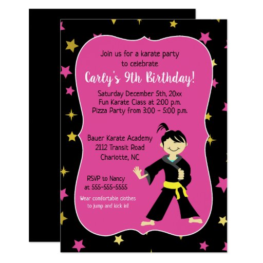 Tae Kwon Do Birthday Invitations