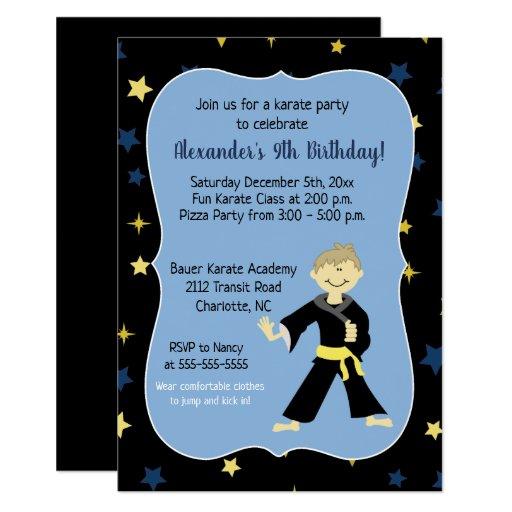 Tae Kwon Do Birthday Invitations Yellow Belt Boy