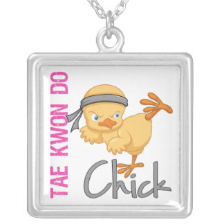 Tae Kwon Do Chick Silver Plated Necklace