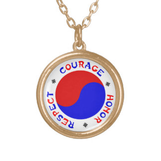 Tae Kwon Do Courage Honor Respect Gold Necklace