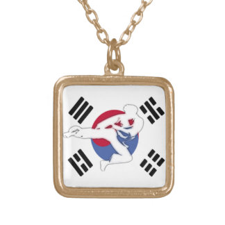 Tae Kwon Do Flyer Necklace gold square pendant