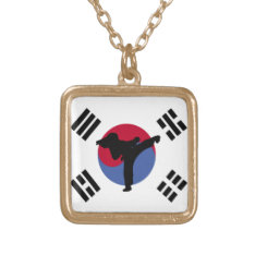 Tae Kwon Do Kicker square gold necklace at Zazzle