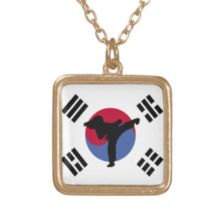 Tae Kwon Do Kicker square gold necklace