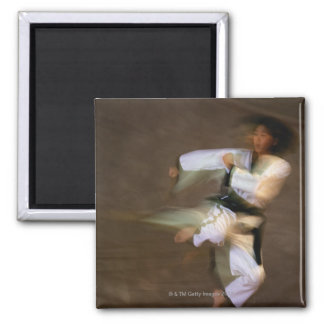Tae Kwon Do Leap Kick 2 Inch Square Magnet
