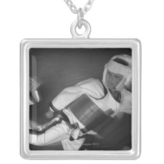 Tae Kwon Do Match Silver Plated Necklace