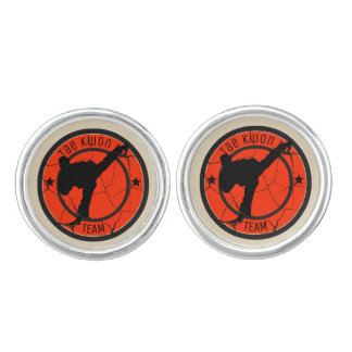 Tae Kwon DoSilhouette of Tae Kwon Do fighter. Cufflinks