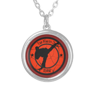 Tae Kwon DoSilhouette of Tae Kwon Do fighter. Silver Plated Necklace
