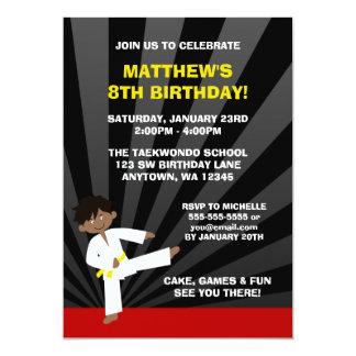 Taekwondo African American Yellow Belt Birthday 5x7 Paper Invitation Card