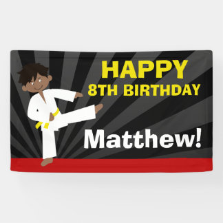 Taekwondo African American Yellow Belt Birthday Banner