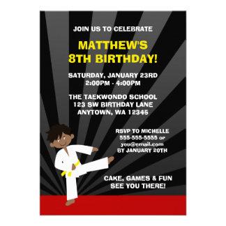 Taekwondo African American Yellow Belt Birthday Personalized Invite