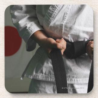 Taekwondo Fighter Tightening Belt Beverage Coaster