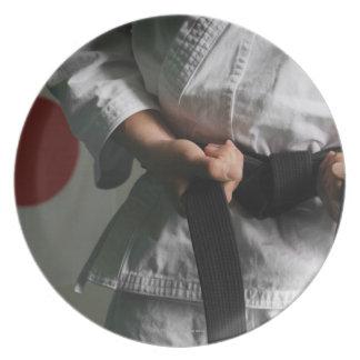 Taekwondo Fighter Tightening Belt Melamine Plate