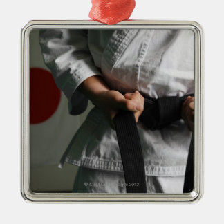 Taekwondo Fighter Tightening Belt Metal Ornament
